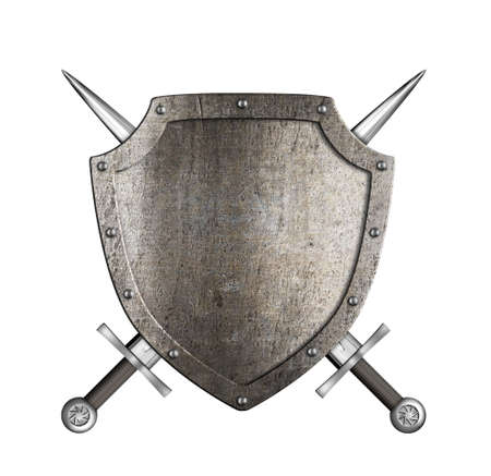 sword fight: knight metal shield with crossed swords isolated on white