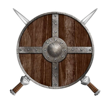 Two crossed swords and wooden viking shield isolated photo