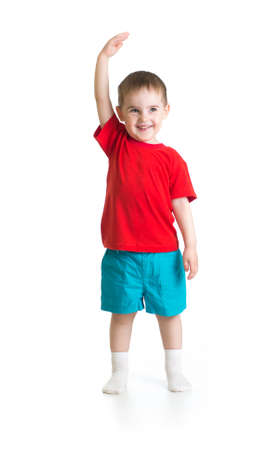 tallness: Kid boy growing. Isolated on white studio shot.