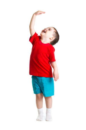 measure height: child showing grow Stock Photo