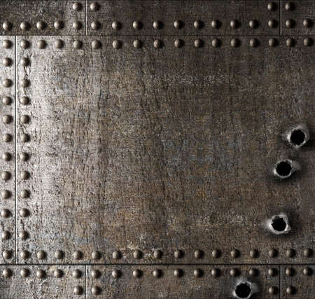 armour plating: Damaged metal background with bullet holes