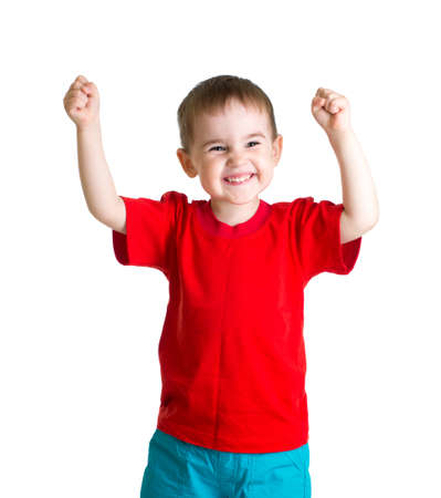 one little boy: Happy kid in red tshirt with hands up isolated