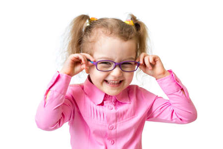 hyperopia: Funny happy girl in glasses isolated on white Stock Photo