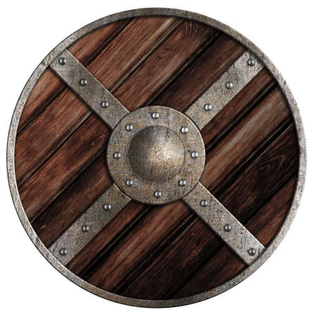 boarded: Medieval round wooden shield of vikings isolated on white