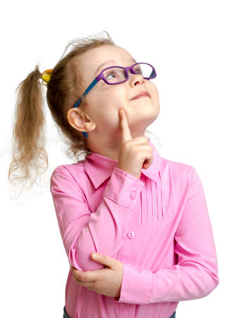hyperopia: Adorable child in glasses looking up isolated on white