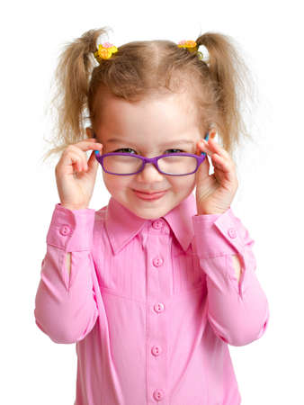 hyperopia: Funny girl in glasses isolated on white Stock Photo