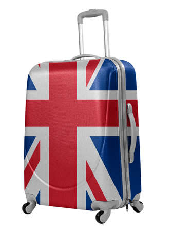 Trunk with British flag isolated  Trip to England concept  Stock Photo - 28608802