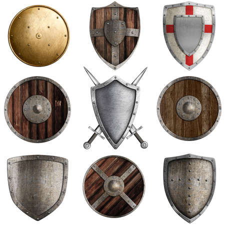 medieval shields collection  3 isolated on white photo