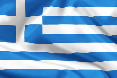 greece flag: Greece flag on satin or silk Stock Photo
