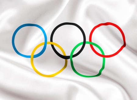 TOMSK, Rusia - 25 de mayo 2014: Comité Olímpico Internacional bandera close-up Editorial