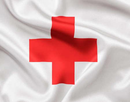 TOMSK, Rusia - 25 de mayo 2014: Comité Internacional de la bandera de la Cruz Roja Editorial