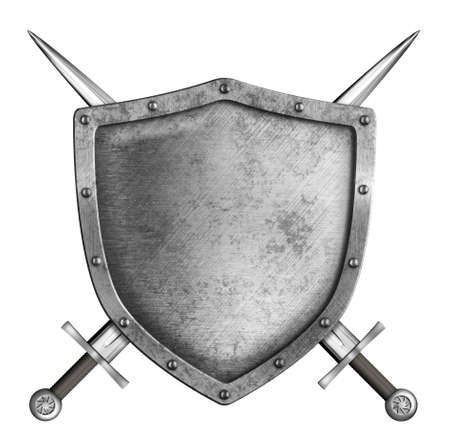 barbarian: medieval metal knight shield with crossed swords isolated on white Stock Photo
