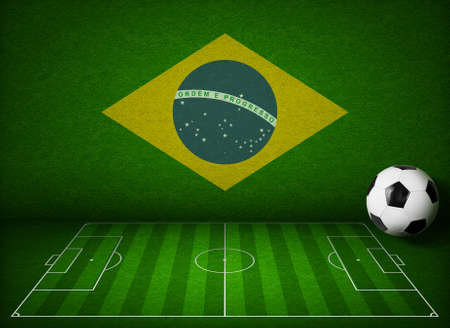 touchline: Soccer or football field with ball and flag of Brazil