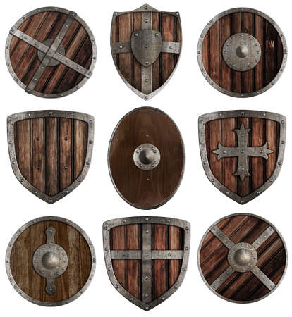medieval wooden shields collection isolated on white photo