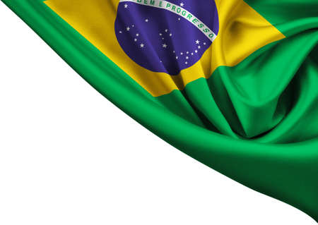 flag of Brazil crop isolated on white photo