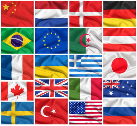 Flags set  USA, Great Britain, Italy, France, Brazil, Germany, Russia, Japan, Canada, Ukraine, Netherlands, Australia, Sweden, Greece, China and others photo