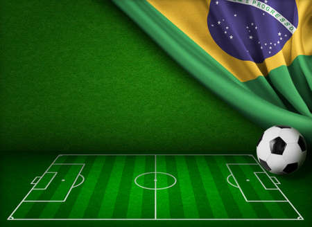 crossbars: Soccer cup in Brazil concept background Stock Photo