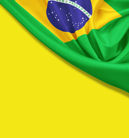 Flag of Brazil on yellow background  Clipping path for flag is included  photo