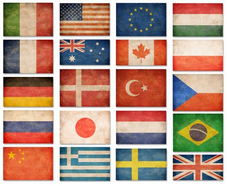 Grunge flags: USA, Great Britain, Italy, France, Denmark, Germany, Russia, Japan, Canada, Brazil, Turkey, Netherlands, Australia, Poland, Sweden, Greece, China and others photo