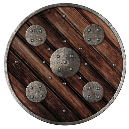 Medieval round wooden shield of vikings isolated on white photo