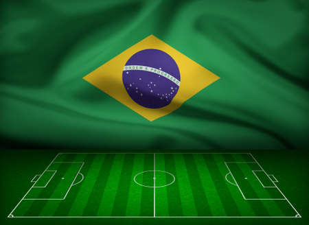 touchline: Soccer field with flag of Brazil