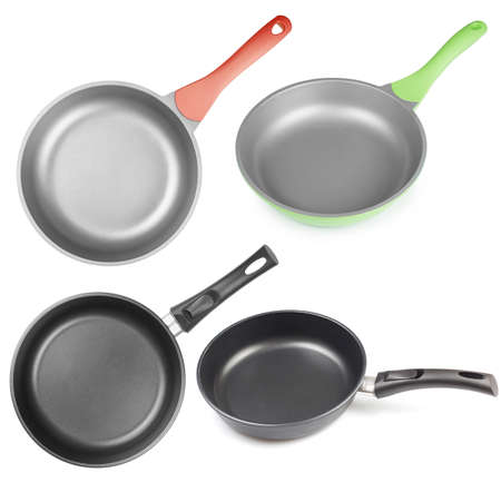 os: frying pans os skillets set isolated
