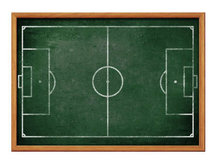 Blackboard for soccer team formation drawing  Football field or pitch plan on green chalkboard  photo