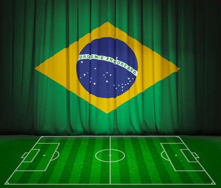 crossbars: Soccer field with flag of Brazil on green curtain Stock Photo