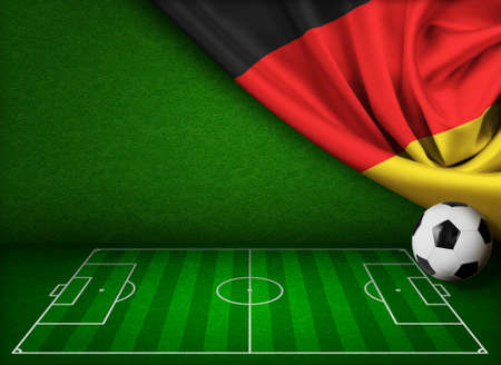 touchline: Soccer or football with flag of Germany