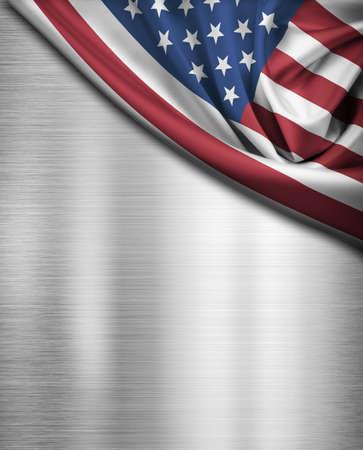 USA flag over metal  photo