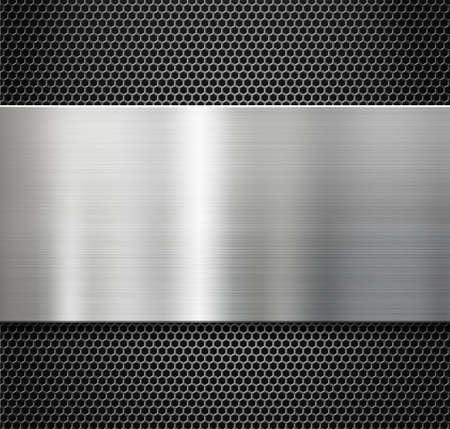 metal grate: steel metal plate over comb grate background