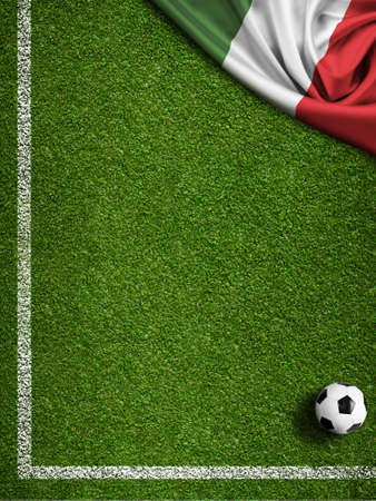Soccer field with ball and flag of Italy photo