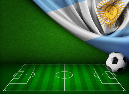 Soccer or football background with flag of Argentina photo