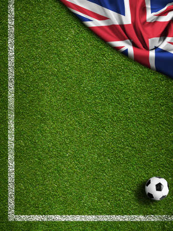 crossbars: Soccer field with ball and flag of Argentina Stock Photo