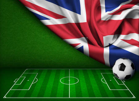 crossbars: Soccer or football background with flag of United Kingdom Stock Photo
