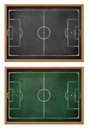 Blackboards for soccer team formation  Football field or pitch plan on blackboard  photo