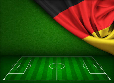 touchline: Soccer or football field background with flag of Germany