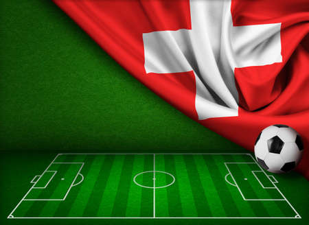 touchline: Soccer or football background with flag of Switzerland Stock Photo