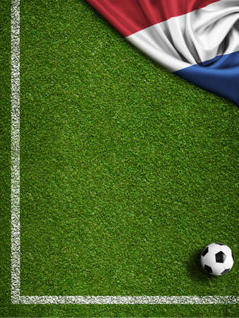 touchline: Soccer or football field with flag of Netherland