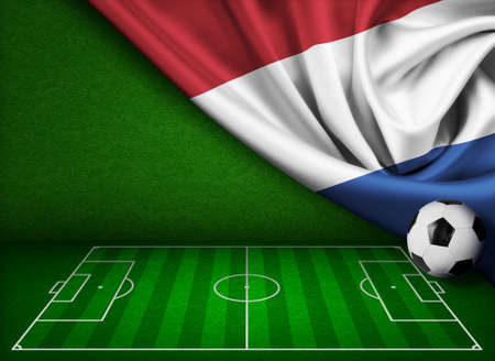 touchline: Soccer or football background with flag of Netherland