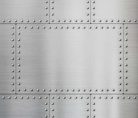 metales: placas de metal con remaches de fondo Foto de archivo