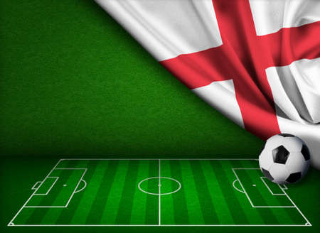 kick out: Soccer or football background with flag of England