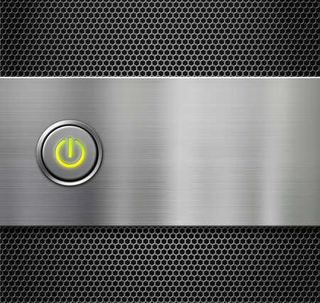 powerbutton: poder o bot�n de inicio en la placa de metal Foto de archivo