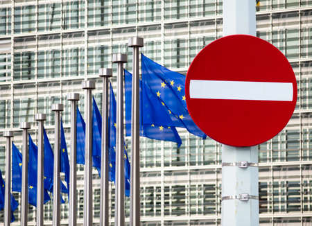 No entry sign in front of EU government building photo