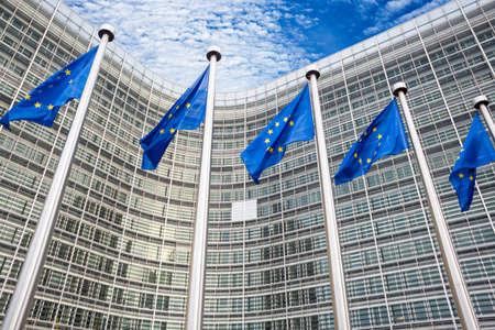 Bruxelles: EU flags in front of Berlaymont building