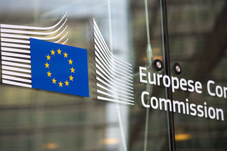 europe closeup: European commission official building entry