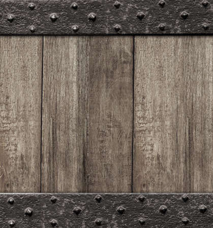forged: medieval wooden gate door background Stock Photo