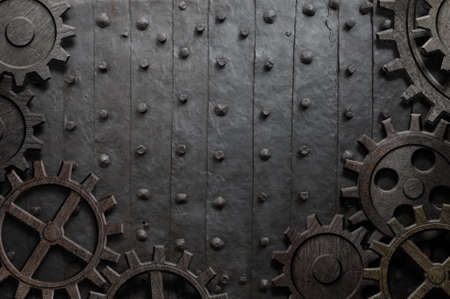 old metal background with rusty gears and cogs