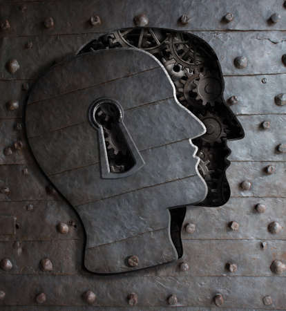 Human brain door with keyhole concept made from metal gears and cogs Stockfoto