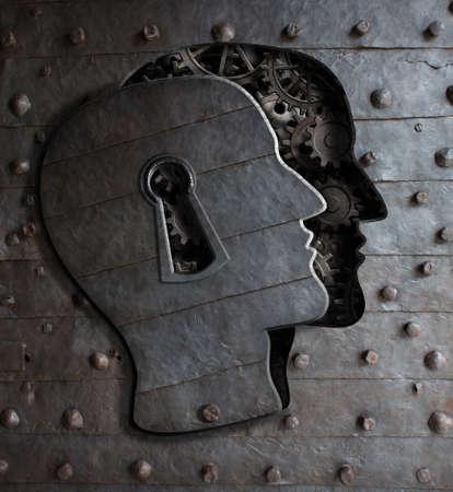 claves: Puerta Cerebro humano con el concepto de ojo de la cerradura hecha de engranajes de metal y ruedas dentadas Foto de archivo